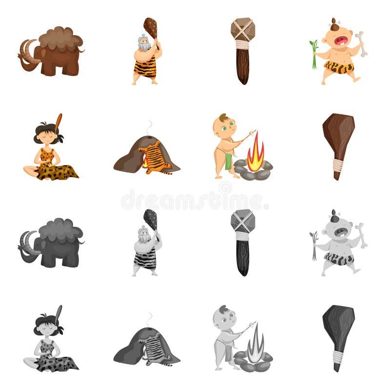 Objet d'isolement de symbole d'évolution et de préhistoire Collection de symbole boursier d'évolution et de développement pour le illustration stock