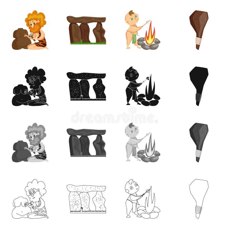 Objet d'isolement de symbole d'évolution et de préhistoire Placez de l'illustration courante de vecteur d'évolution et de dévelop illustration de vecteur