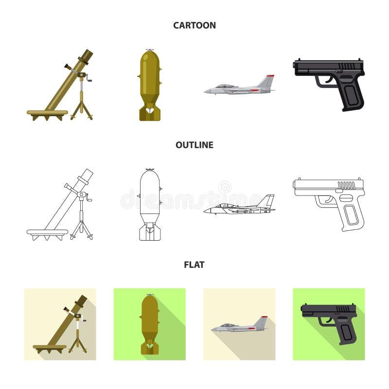 Objet d'isolement de symbole d'arme et d'arme à feu Collection de symbole boursier d'arme et d'armée pour le Web illustration stock