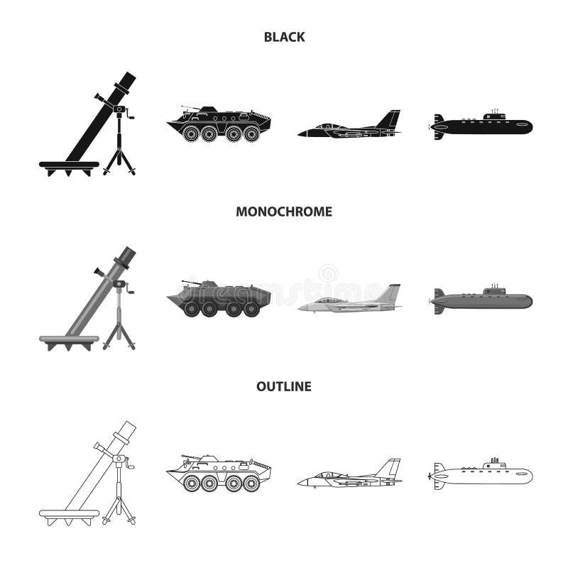 Objet d'isolement de symbole d'arme et d'arme à feu Collection de symbole boursier d'arme et d'armée pour le Web illustration de vecteur