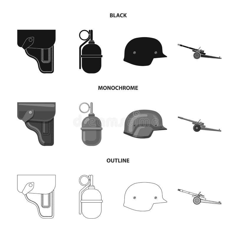 Objet d'isolement de symbole d'arme et d'arme à feu Collection d'icône de vecteur d'arme et d'armée pour des actions illustration stock