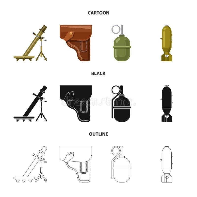 Objet d'isolement de symbole d'arme et d'arme à feu Collection de l'illustration courante de vecteur d'arme et d'armée illustration libre de droits