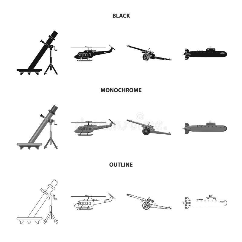 Objet d'isolement de symbole d'arme et d'arme à feu Ensemble d'icône de vecteur d'arme et d'armée pour des actions illustration stock