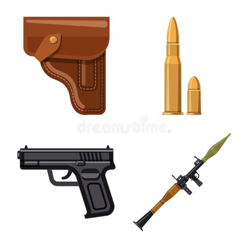 Objet d'isolement de symbole d'arme et d'arme à feu Ensemble d'illustration courante de vecteur d'arme et d'armée illustration de vecteur