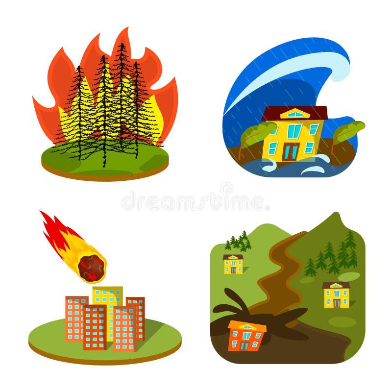 Objet d'isolement de symbole de cataclysme et de catastrophe Placez du symbole boursier de cataclysme et d'apocalypse pour le Web illustration de vecteur