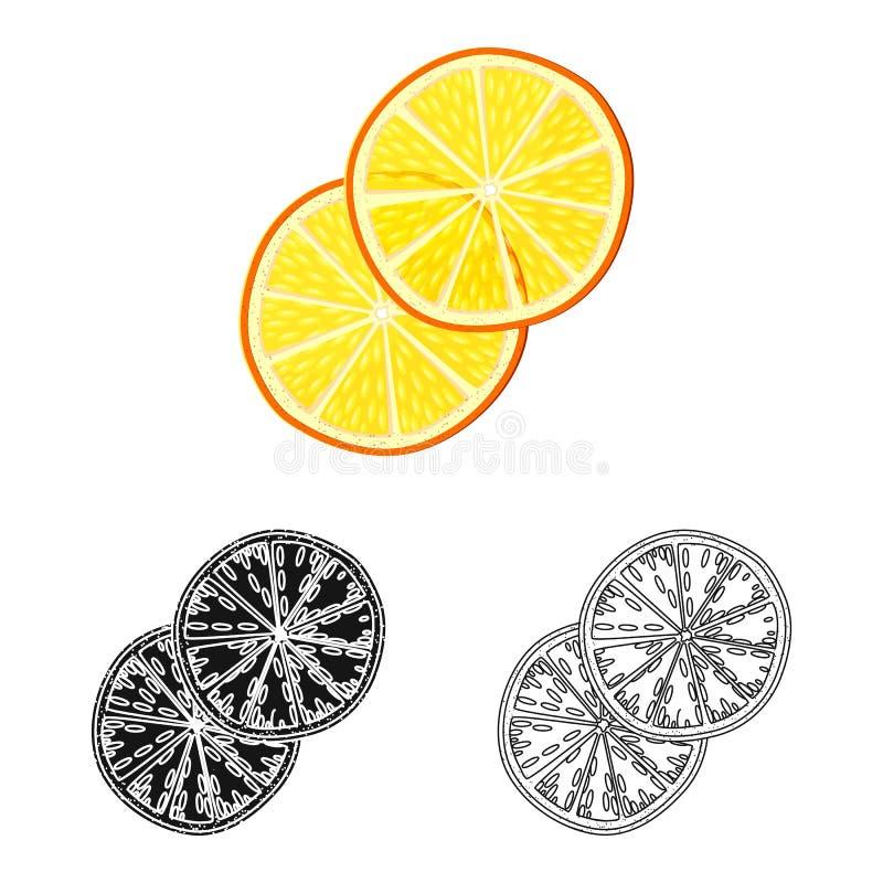 Objet d'isolement de symbole orange et sec Placez de l'icône orange et juteuse de vecteur pour des actions illustration stock