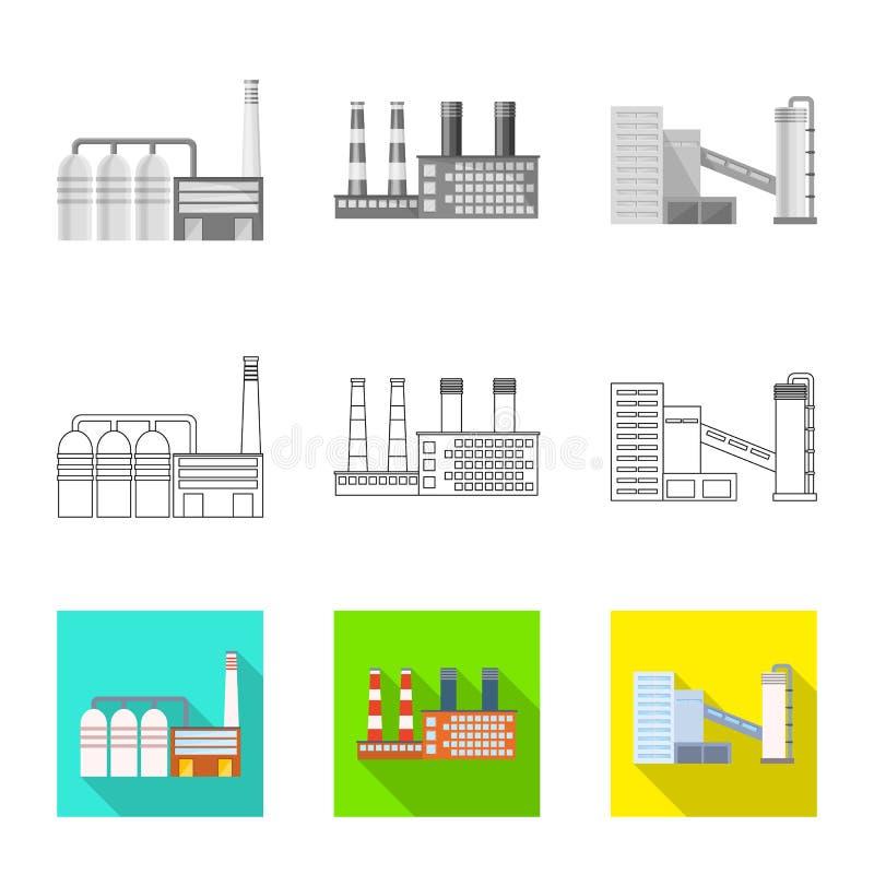 Objet d'isolement de symbole de production et de structure Collection de production et d'illustration de vecteur d'action de tech illustration stock