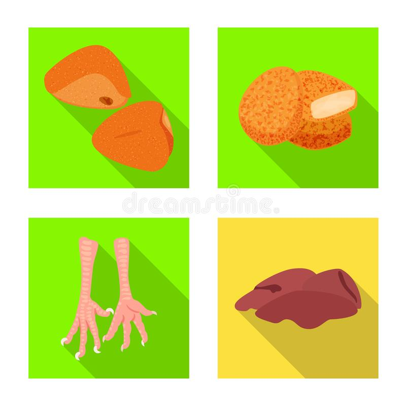 Objet d'isolement de symbole de produit et de volaille Collection de produit et d'illustration courante de vecteur d'agriculture illustration stock