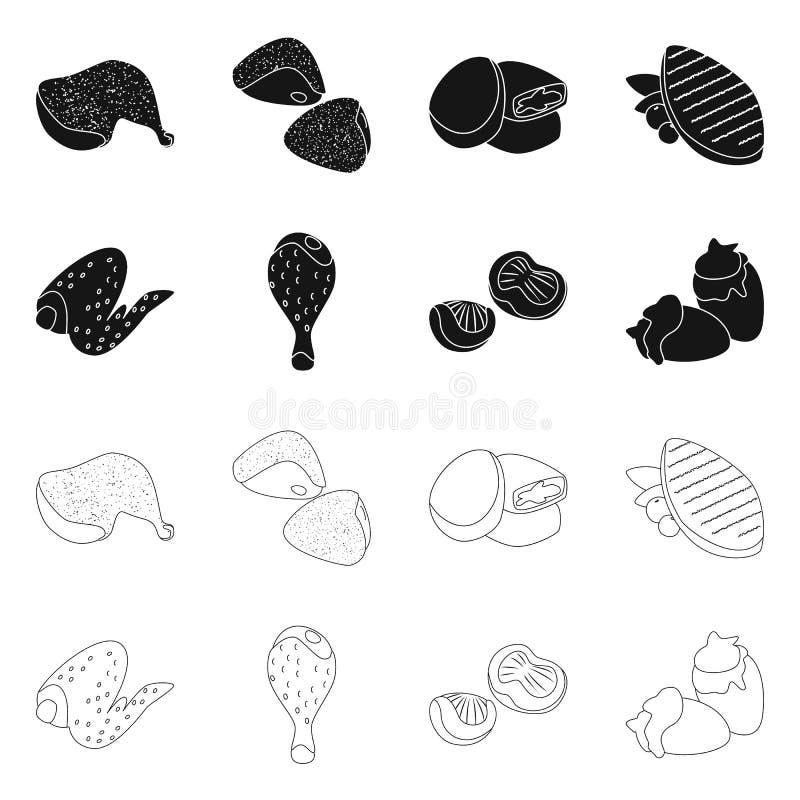 Objet d'isolement de symbole de produit et de volaille Collection de produit et d'illustration courante de vecteur d'agriculture illustration de vecteur
