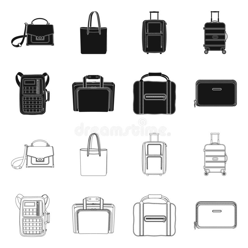 Objet d'isolement de symbole de valise et de bagages Ensemble d'illustration courante de vecteur de valise et de voyage illustration de vecteur