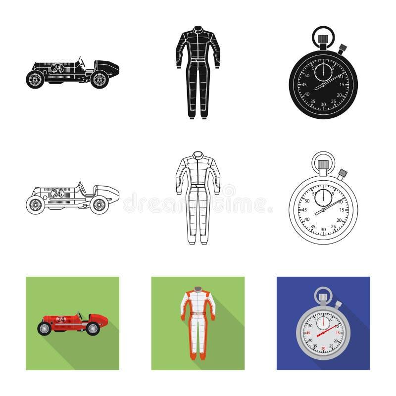 Objet d'isolement de voiture et d'icône de rassemblement Collection de symbole boursier de voiture et de course pour le Web illustration stock