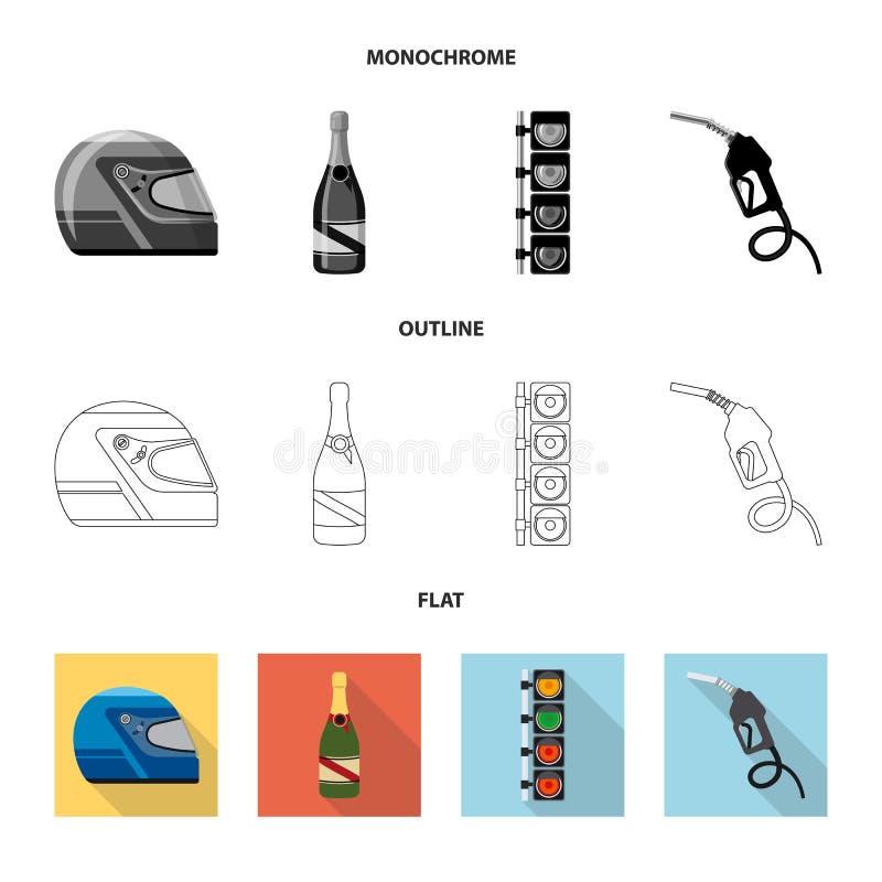 Objet d'isolement de voiture et d'icône de rassemblement Ensemble de symbole boursier de voiture et de course pour le Web illustration libre de droits