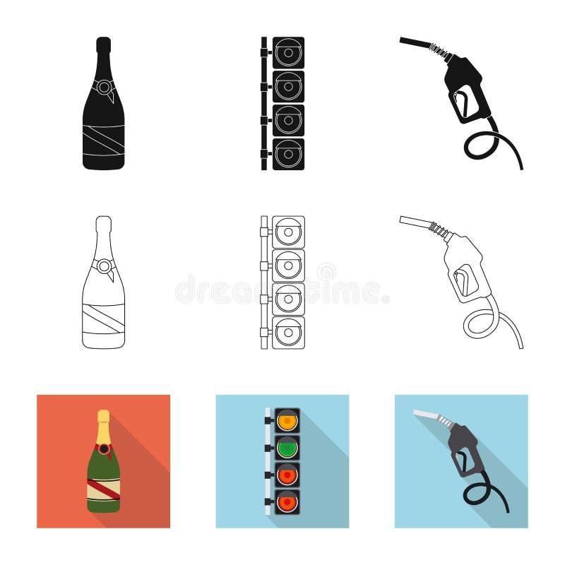 Objet d'isolement de voiture et de logo de rassemblement Ensemble d'icône de vecteur de voiture et de course pour des actions illustration de vecteur
