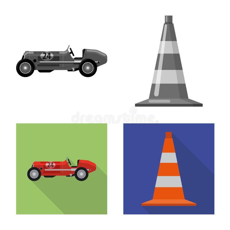 Objet d'isolement de voiture et de signe de rassemblement Ensemble d'illustration courante de vecteur de voiture et de course illustration libre de droits