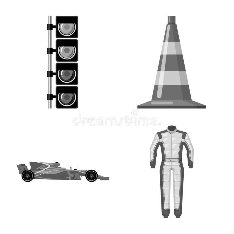 Objet d'isolement de voiture et de signe de rassemblement Ensemble d'illustration courante de vecteur de voiture et de course illustration de vecteur