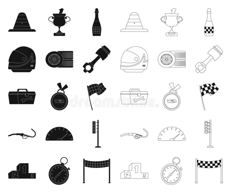 Objet d'isolement de voiture et de signe de rassemblement Ensemble de symbole boursier de voiture et de course pour le Web illustration stock