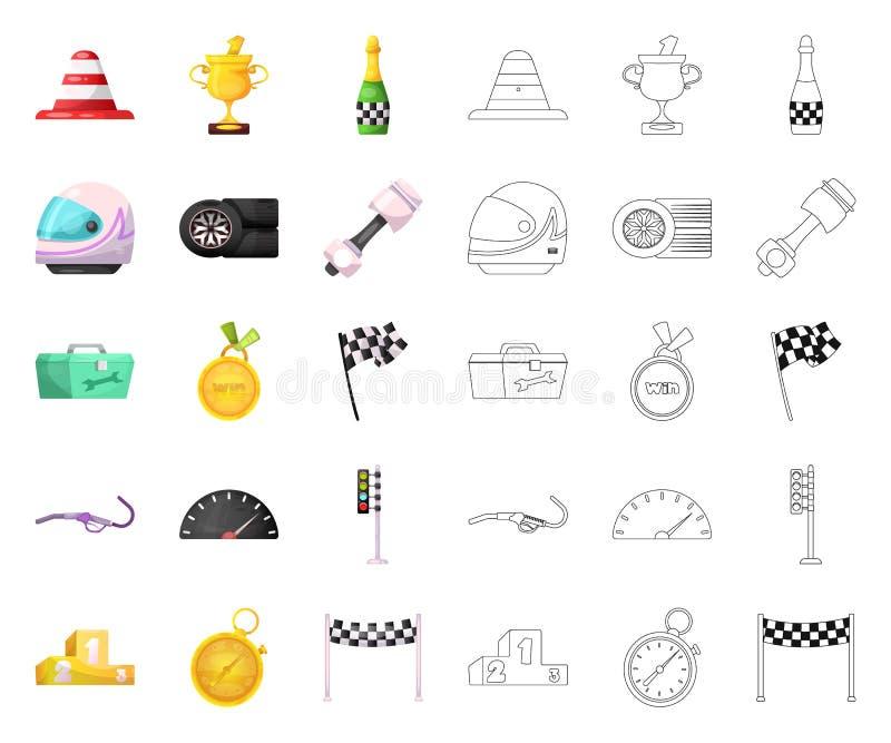 Objet d'isolement de voiture et de signe de rassemblement Ensemble de symbole boursier de voiture et de course pour le Web illustration de vecteur