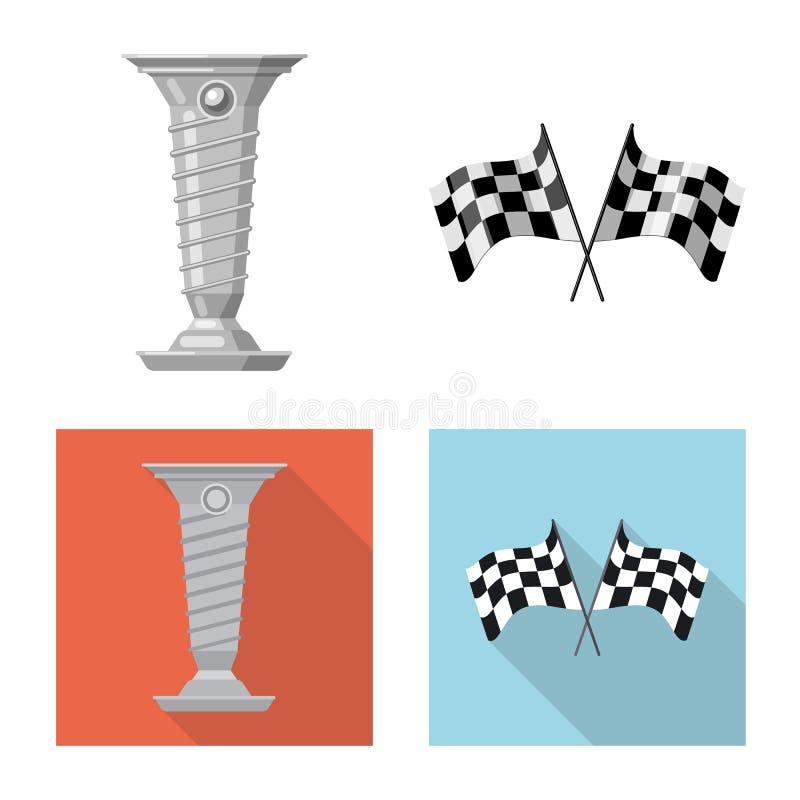 Objet d'isolement de voiture et de symbole de rassemblement Collection de symbole boursier de voiture et de course pour le Web illustration de vecteur