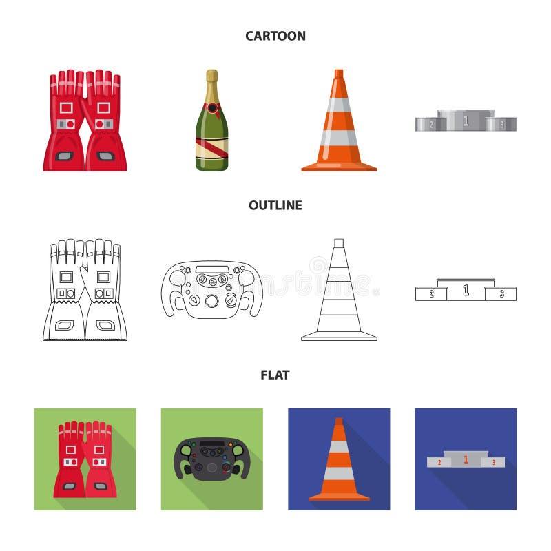 Objet d'isolement de voiture et de symbole de rassemblement Collection de l'illustration courante de vecteur de voiture et de cou illustration stock