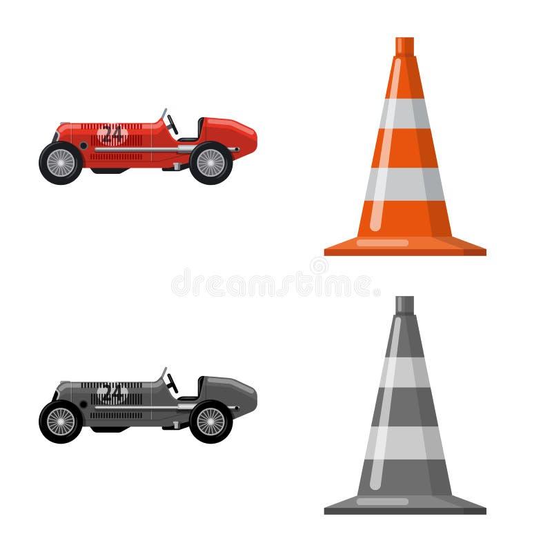 Objet d'isolement de voiture et de symbole de rassemblement Ensemble d'illustration courante de vecteur de voiture et de course illustration de vecteur