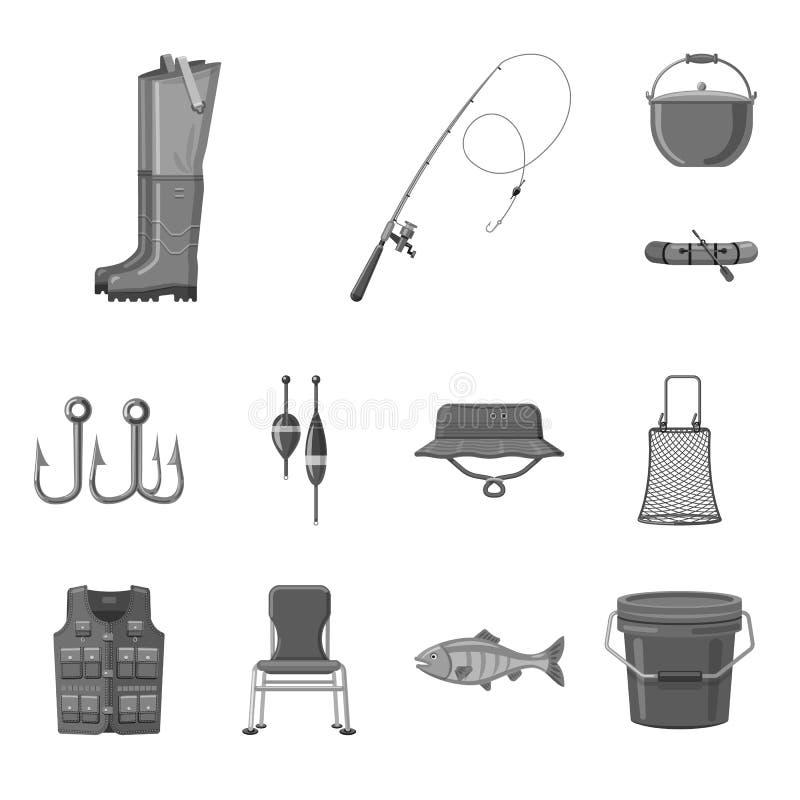 Objet d'isolement des poissons et du logo de pêche Collection d'icône de vecteur de poissons et d'équipement pour des actions illustration libre de droits