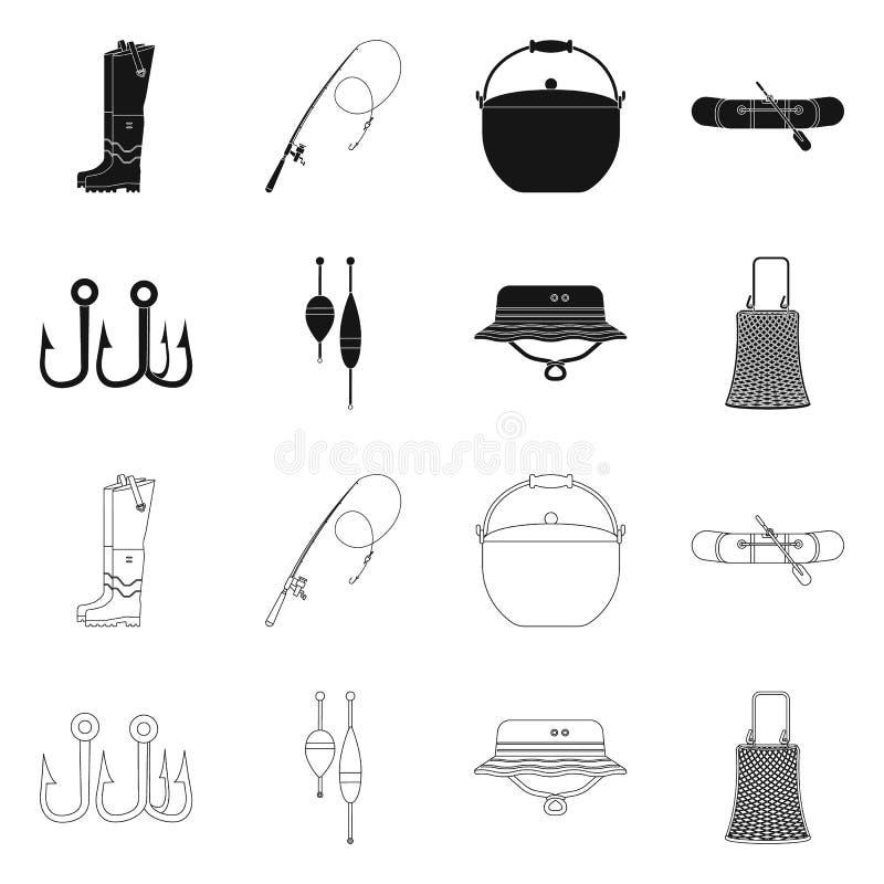 Objet d'isolement des poissons et du logo de pêche Ensemble d'icône de vecteur de poissons et d'équipement pour des actions illustration stock
