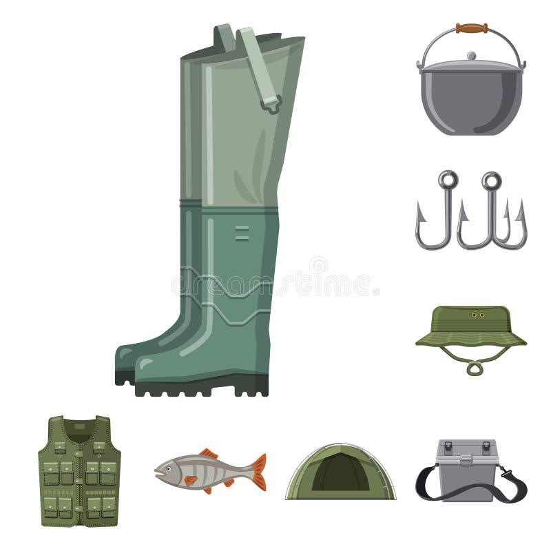 Objet d'isolement des poissons et du logo de p?che Collection d'ic?ne de vecteur de poissons et d'?quipement pour des actions illustration libre de droits