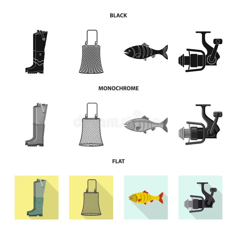 Objet d'isolement des poissons et du symbole de p?che Ensemble d'ic?ne de vecteur de poissons et d'?quipement pour des actions illustration de vecteur