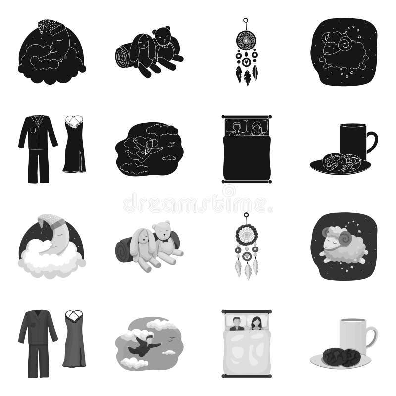 Objet d'isolement des rêves et du symbole de nuit Collection des rêves et de l'illustration courante de vecteur de chambre à couc illustration de vecteur