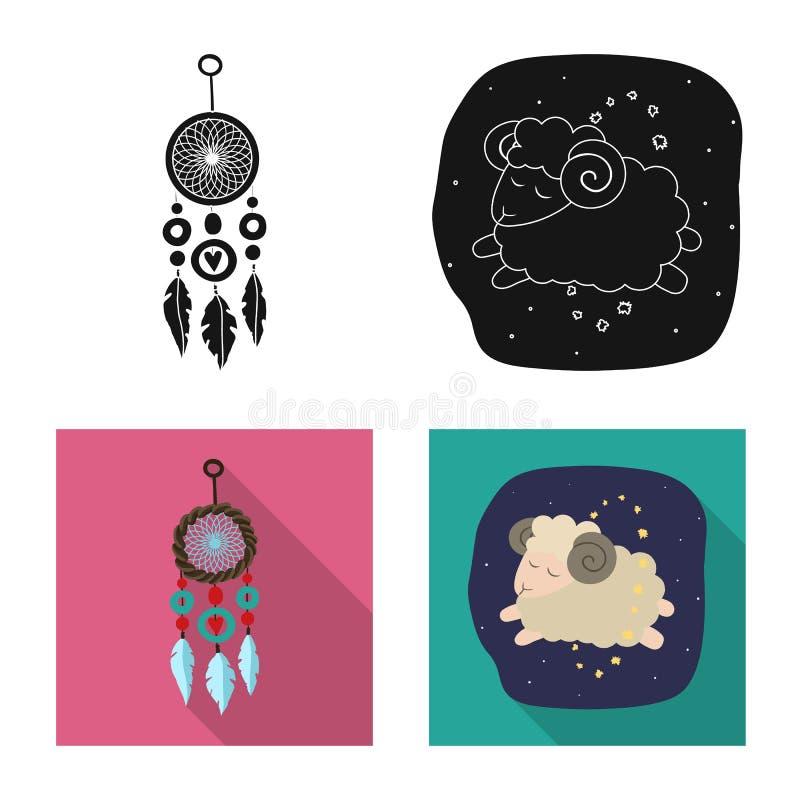 Objet d'isolement des rêves et du symbole de nuit Ensemble de rêves et de symbole boursier de chambre à coucher pour le Web illustration de vecteur