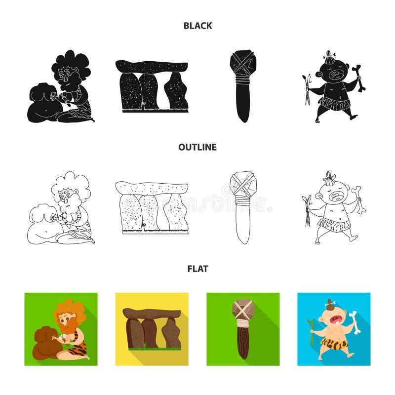 Objet d'isolement d'icône d'évolution et de préhistoire Collection de l'illustration courante de vecteur d'évolution et de dévelo illustration stock