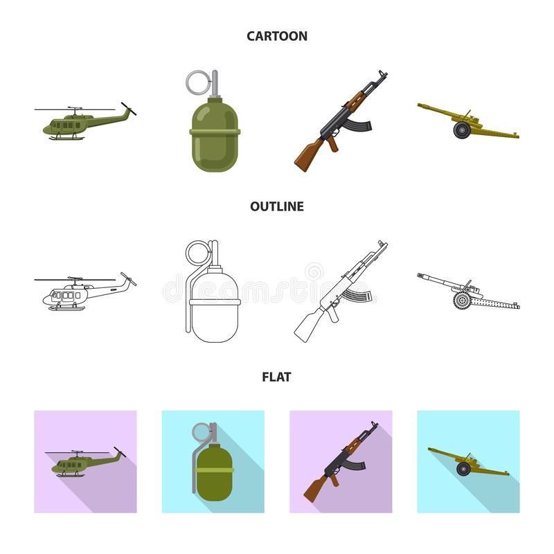 Objet d'isolement d'icône d'arme et d'arme à feu Collection de l'illustration courante de vecteur d'arme et d'armée illustration libre de droits