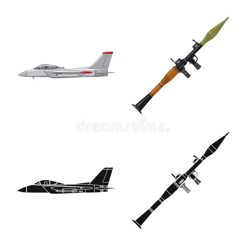 Objet d'isolement d'icône d'arme et d'arme à feu Collection de symbole boursier d'arme et d'armée pour le Web illustration stock
