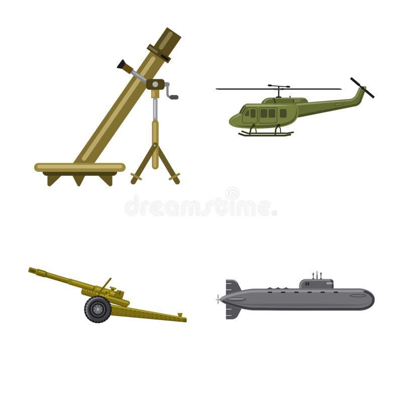 Objet d'isolement d'icône d'arme et d'arme à feu Collection d'icône de vecteur d'arme et d'armée pour des actions illustration stock