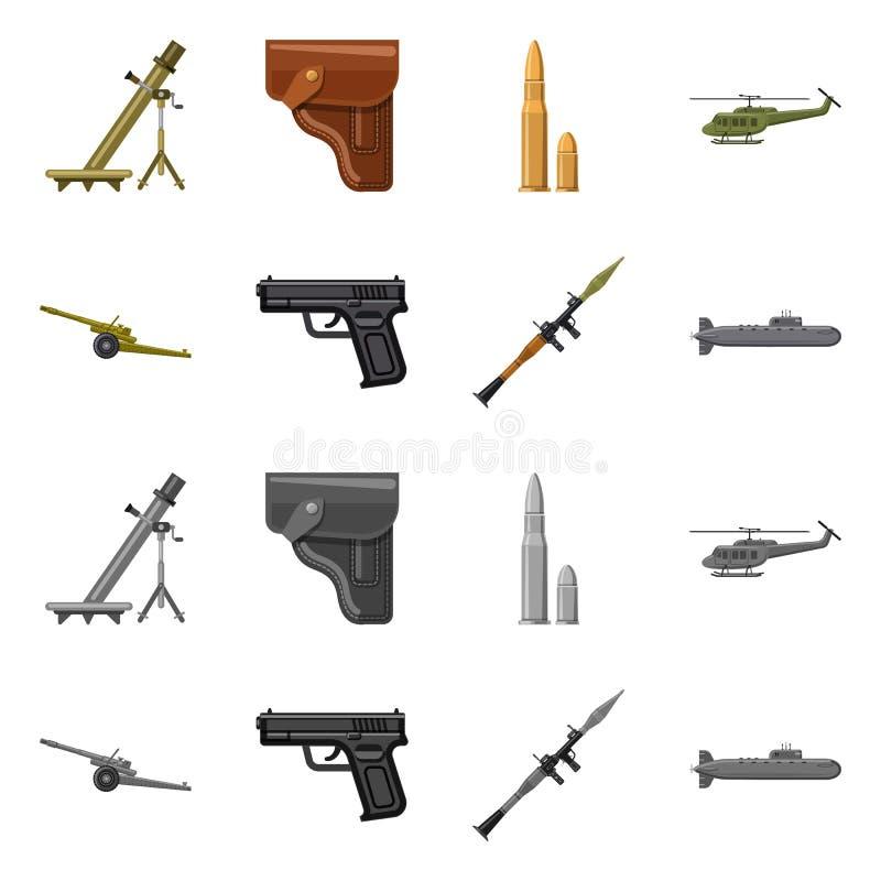Objet d'isolement d'icône d'arme et d'arme à feu Collection d'icône de vecteur d'arme et d'armée pour des actions illustration libre de droits