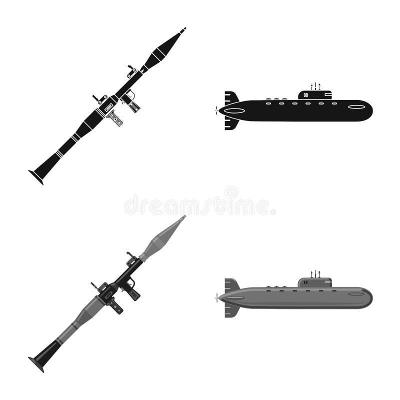 Objet d'isolement d'icône d'arme et d'arme à feu Ensemble d'icône de vecteur d'arme et d'armée pour des actions illustration stock