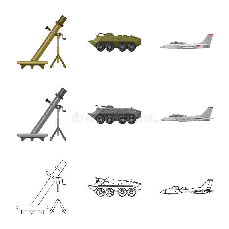 Objet d'isolement d'icône d'arme et d'arme à feu Ensemble d'illustration courante de vecteur d'arme et d'armée illustration de vecteur