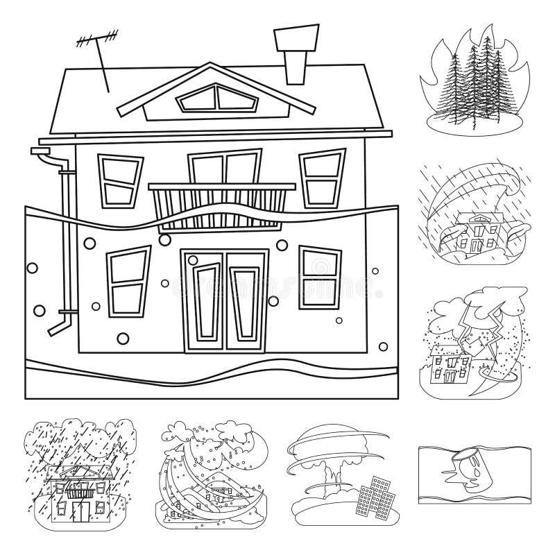 Objet d'isolement d'icône de cataclysme et de catastrophe Collection de symbole boursier de cataclysme et d'apocalypse pour le We illustration stock