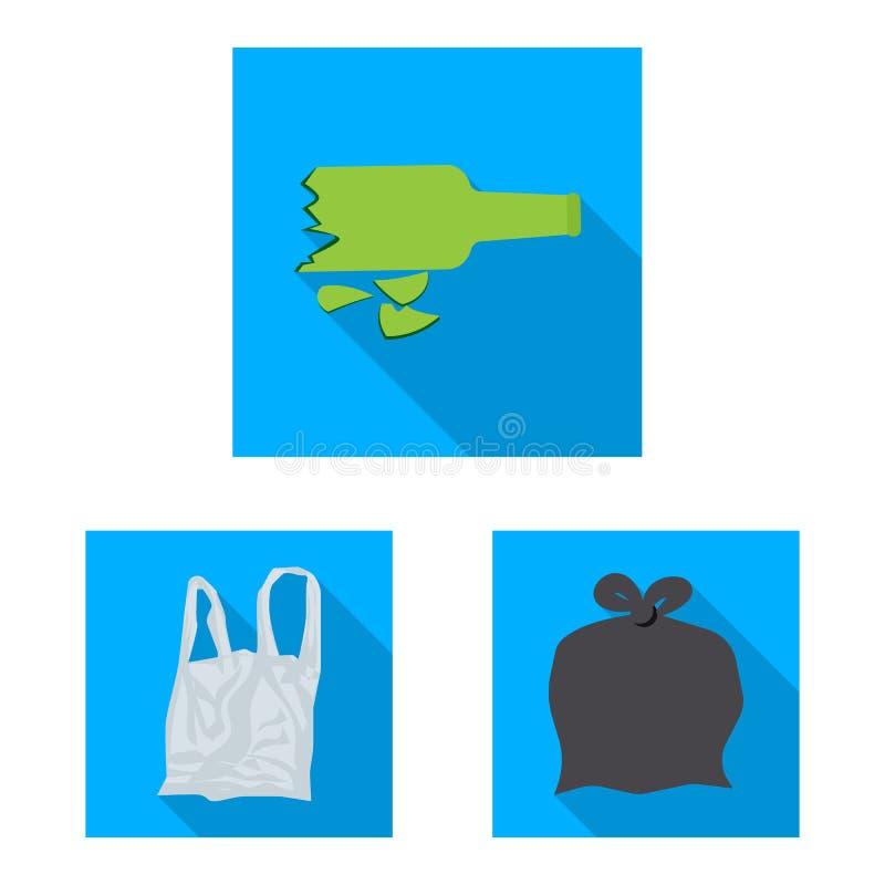 Objet d'isolement d'ic?ne d'ordures et d'ordure. Collection de symbole boursier d'ordures et de d?chets pour le Web illustration de vecteur