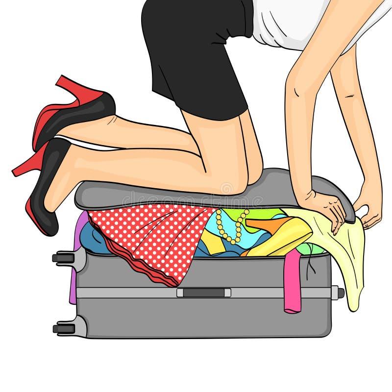 Objet d'isolement sur le fond blanc Voyage de Tema et rassemblement femelle Choses qui ne s'insèrent pas dans la trame de valise illustration libre de droits