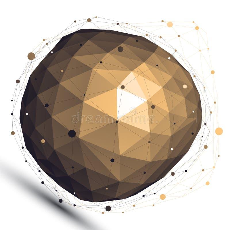 Objet de conception d'abrégé sur vecteur de l'or 3D, figu compliqué déformé illustration libre de droits