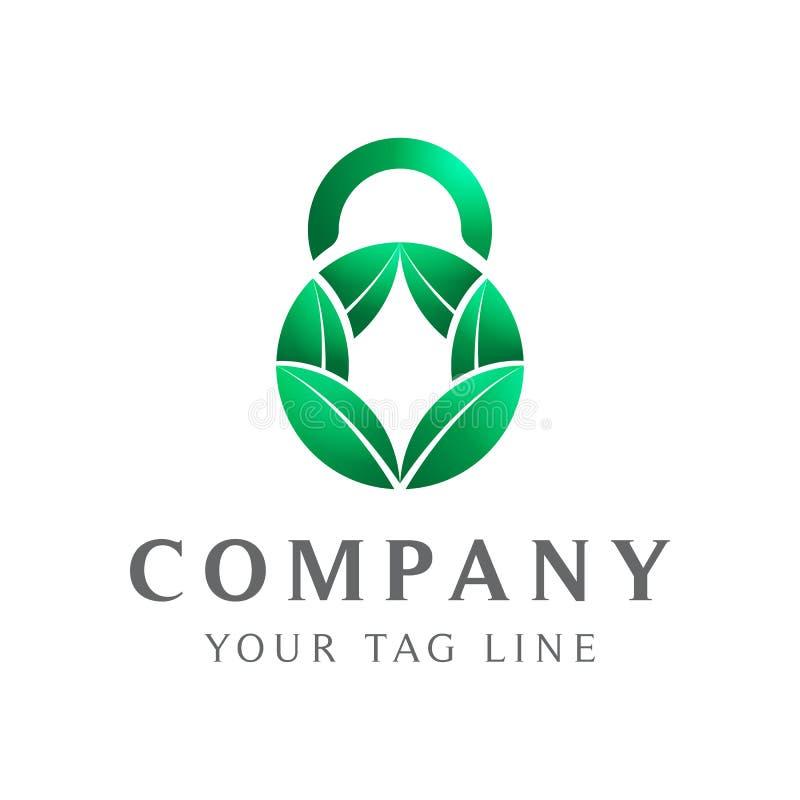 Objet de feuille d'abr?g? sur logo de cadenas illustration stock