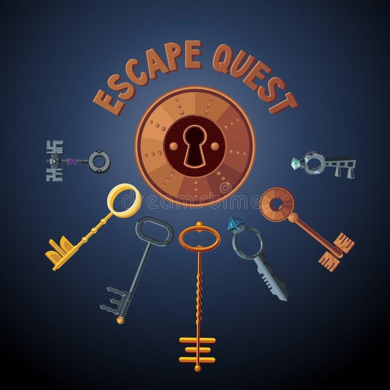 Objet de vecteur de jeu de recherche Clés et serrure de cru Fond de pièce d'évasion Emblème de porte illustration de vecteur