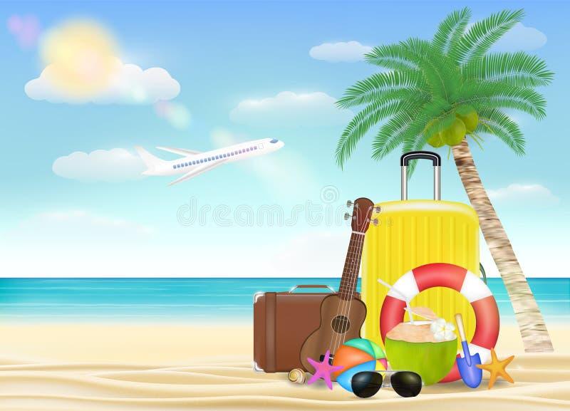 Objet de voyage en mer avec du ballon de plage de tore de sécurité d'ukulélé de valise en verre de soleil avec le fond de plage illustration stock