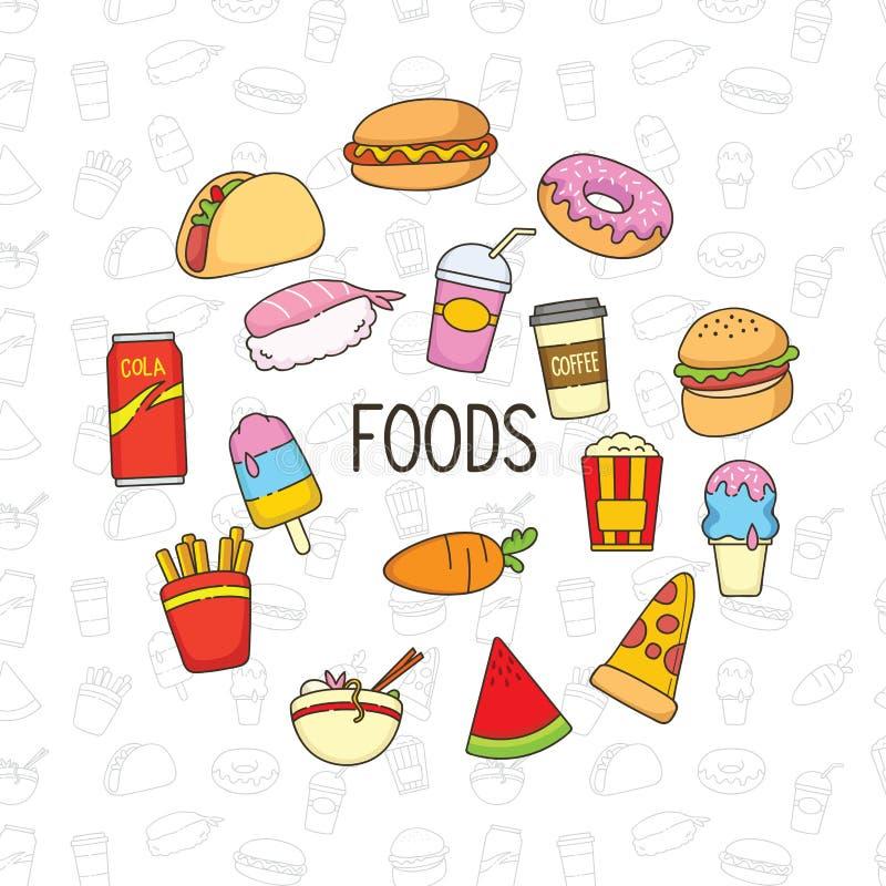 Objet et fond mignons de griffonnage de nourriture illustration stock