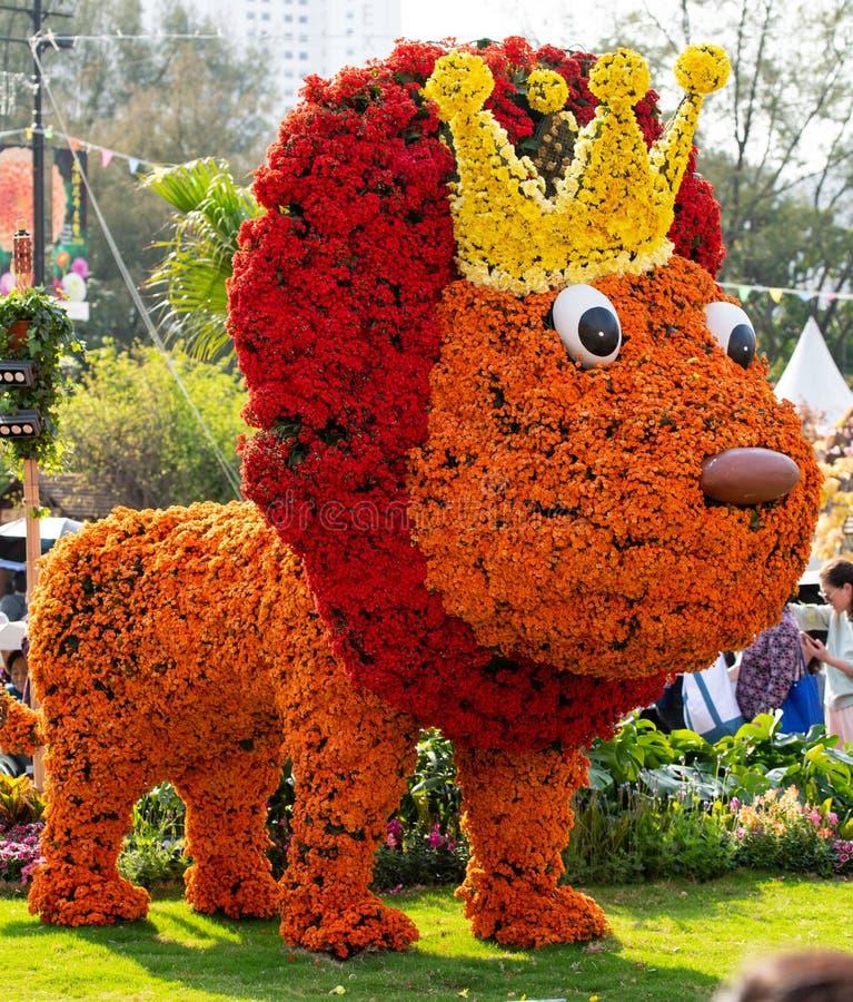 Objet exposé de lion fait de fleurs photos libres de droits