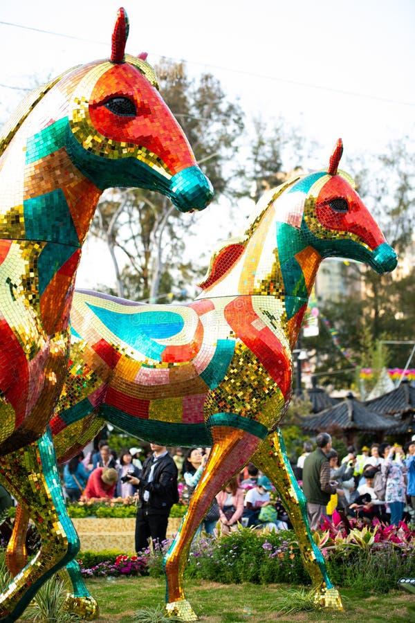 Objet exposé modèle brillant de cheval de Hong Kong Flower Show 2018 images libres de droits