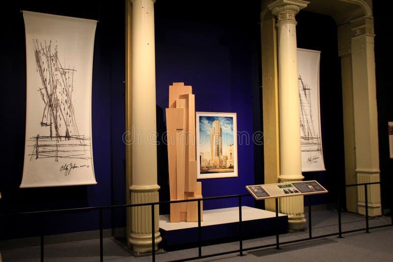 Objet exposé renversant d'architecture créé par Philip Johnson, musée d'état, Albany, New York, 2016 photos stock