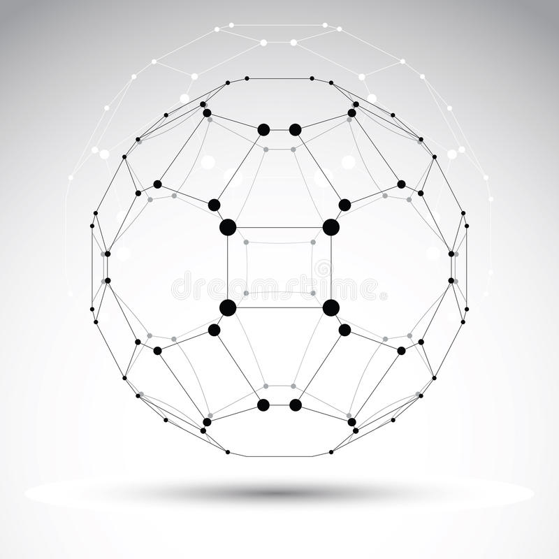 Objet géométrique abstrait de maille du vecteur 3D illustration stock