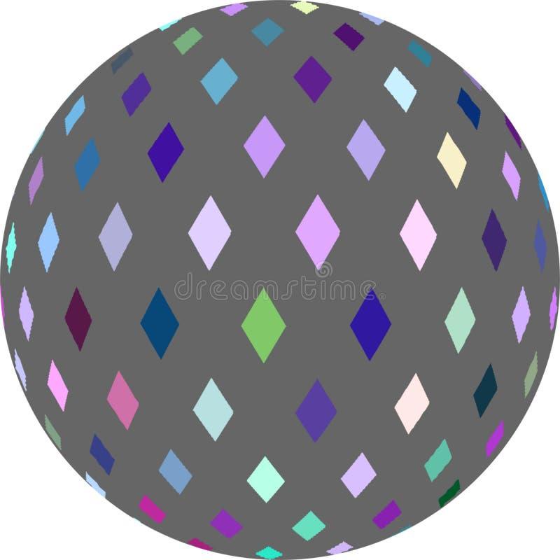 Objet graphique abstrait vert bleu de la boule 3d de mosaïque de rose gris d'isolement illustration libre de droits